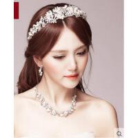 高贵大气优雅皇冠项链耳环三件套精致耐用舒适新娘韩式结婚头饰