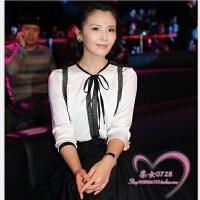 女装白色圆领雪纺衫上衣春装新款韩版长袖显瘦衬衫女小衫