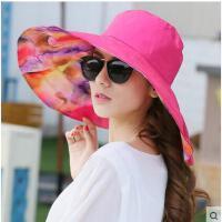 两面可戴帽子 女 夏天户外大沿遮阳帽防晒帽 防紫外线太阳帽 海边沙滩帽 大碎花可折叠
