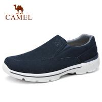 camel骆驼男鞋 秋季新品时尚休闲反绒牛皮套脚鞋缓震跑步健步鞋