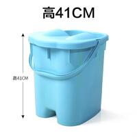 带盖加高加厚足浴桶深桶按摩保温洗脚泡脚桶足浴盆塑料洗脚盆大号Q 超高大号 有盖 高41cm天蓝色