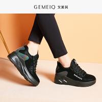 戈美其秋冬季新款短筒运动户外短靴女中跟内增高英伦休闲加绒棉鞋