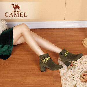 CAMEL骆驼女鞋 秋冬新款 舒适时尚方头方扣短筒靴子女个性字母扣带女靴