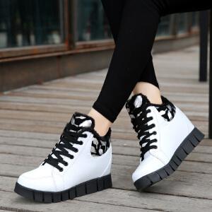 2017秋冬季新款雪地靴女式短靴平跟系带加厚棉靴女鞋靴子内增高女皮鞋