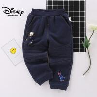 【到手价:72.4元】迪士尼宝宝极速光轮男童针织不倒绒牛仔长裤2018冬款上新