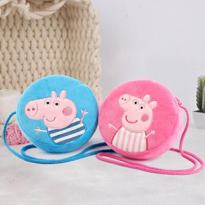 小猪佩奇刺绣儿童斜跨包 女孩可爱卡通儿童圆形零钱包