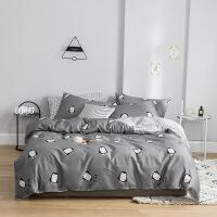 棉床上四件套ins风纯棉被套1.2m宿舍床单三件套床上用品