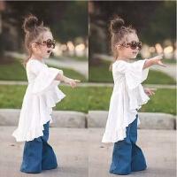 女童春装套装2018新款韩版牛仔喇叭裤儿童外套中小宝宝衣服两件套 尺码80 建议身高80-85