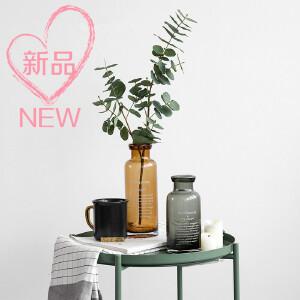 美庭 北欧塞纳沃字母款玻璃花瓶 花插ins水培花瓶家居饰品