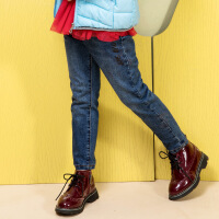 【3件3折约:86.7元】水孩儿souhait童装女童牛仔裤加绒冬装新款儿童保暖长裤中大童裤子女时尚简约牛仔长裤AMD