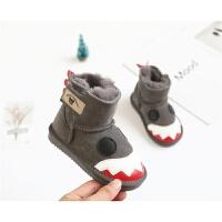 小怪兽宝宝皮毛一体儿童雪地靴冬季棉鞋男女童1-3防滑婴儿学步鞋