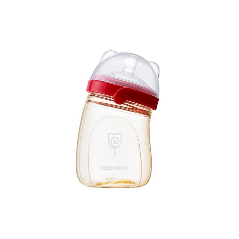 【限时秒杀】杯具熊(BEDDYBEAR)婴儿奶瓶PPSU宽口径耐摔硅胶仿母乳防胀气宝宝奶瓶240ml 【防伪查询 正品保障】
