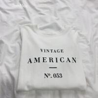新款棉麻面料下摆开叉宽松英文字母印花长袖T恤中长款女打底衫 白色 均码
