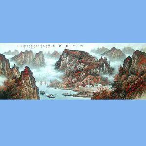 中国美术协会会员,广西省美术家协会理事,国家一级美术师蒋清(秋山红叶图)