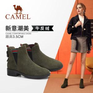 Camel/骆驼女鞋 2018冬季新款 粗跟舒适潮流气质休闲低跟女短靴