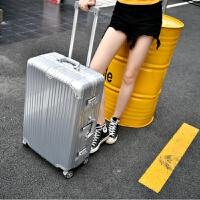 新款铝合金拉杆箱万向轮24寸铝框皮箱旅行箱女行李箱26寸复古登机箱 钻石款 银色