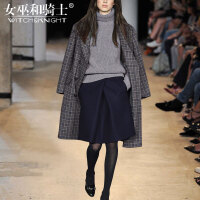 女巫2017冬装新款欧美时髦外套洋气套装女时尚气质毛衫短裙三件套