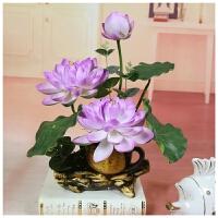 仿真莲花荷花供佛用品 家居客厅装饰假花绢花塑料小盆栽摆件Q