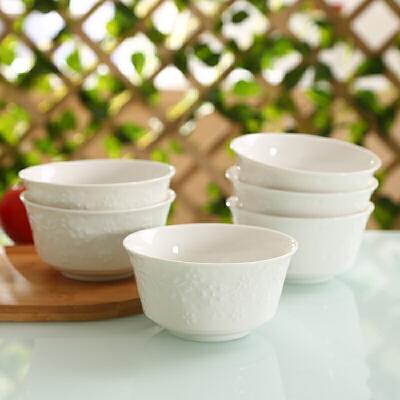 shunxiang 顺祥 陶瓷 4.5寸一抹金艳晶典饭碗6只装