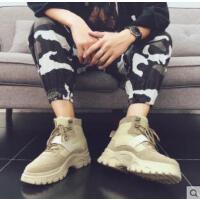 潮男鞋纯色高帮鞋韩版潮流百搭潮鞋加绒保暖棉鞋高邦嘻哈板鞋