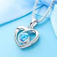 紫水晶心形银项链女锁骨链简约银饰s925纯银吊坠饰品生日礼物