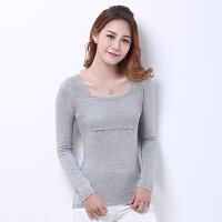 T恤 女士圆领镂空蕾丝花边长袖套头衫2019年秋季新款韩版时尚女式修身女装打底衫