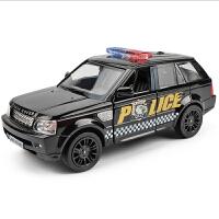 1:36仿真路虎揽胜警车合金车模公安越野汽车模型男孩玩具车回力车