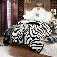 君别秋冬加厚双层安哥拉婚庆毯家用云毯保暖毯200*230cm单双人床通用毯 斑马纹 200cmx230cm