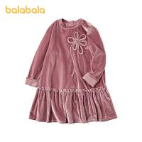 【3件4折价:60】巴拉巴拉儿童裙子童装女童连衣裙大童复古丝绒裙甜美春秋款