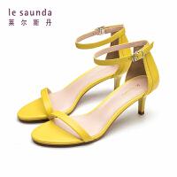 莱尔斯丹 新款一字带细跟高跟鞋时尚女式仙女风凉鞋 60789