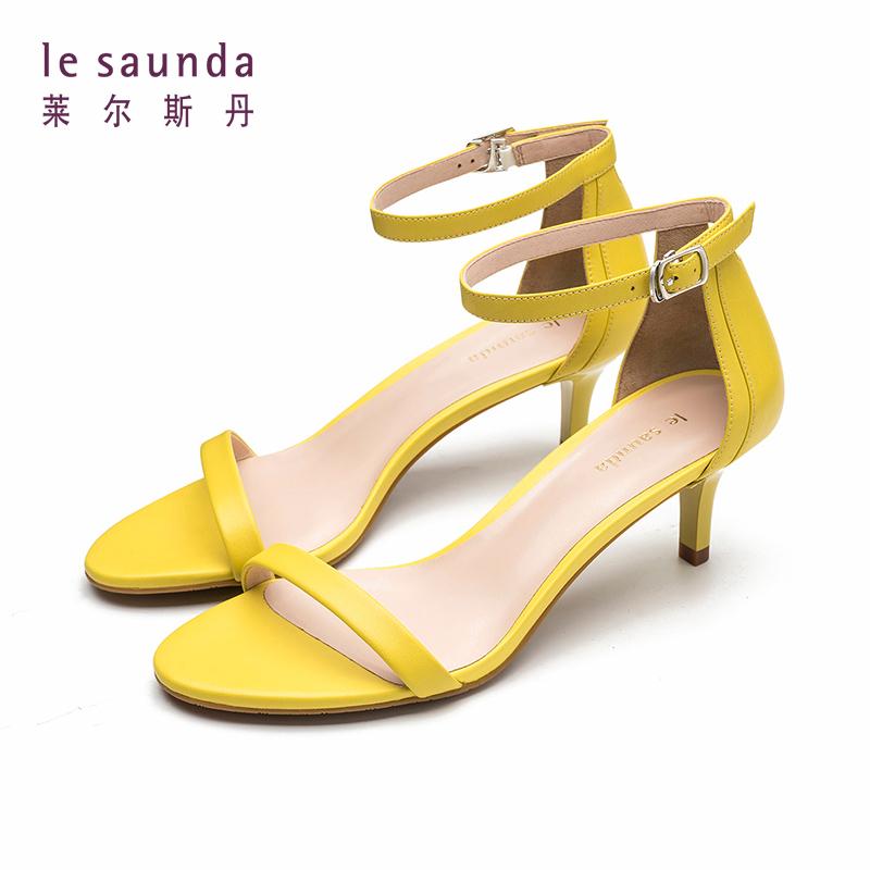 【全场3折】莱尔斯丹 新款一字带细跟高跟鞋时尚女式仙女风凉鞋 60789 一字带细跟高跟鞋凉鞋
