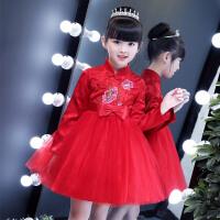 女童长袖连衣裙童装秋款加绒加厚儿童旗袍公主裙子唐装礼服裙