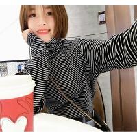 新款春季黑白条纹T恤女长袖高领修身打底衫短款韩版百搭上衣 条纹 均码