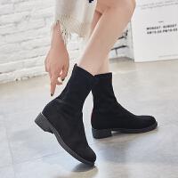 短靴女靴子春秋2018新款袜子鞋粗跟百搭高跟弹力中筒袜靴冬季 黑色