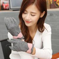 韩版时尚百搭羊毛手套女秋冬季保暖可爱蝴蝶结女士分指手套