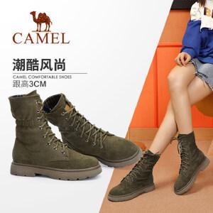 骆驼女鞋2018冬季新款马丁靴 时尚瘦瘦靴韩版百搭英伦风系带女靴
