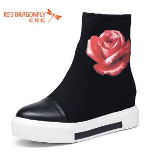红蜻蜓女靴2016冬季新款平底休闲短靴女厚底圆头花朵加绒女棉鞋