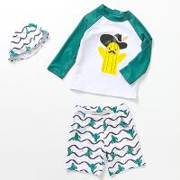 儿童泳衣男童分体防晒男孩宝宝速干冲浪游泳衣泳装2-12岁三件套 绿色