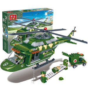 【当当自营】邦宝小颗粒军事拼插积木益智玩具军迷飞机河马多用直升机8253