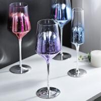 光一星空高脚杯子大号无铅水晶个性创意喝香槟红酒家用玻璃网红小洋酒
