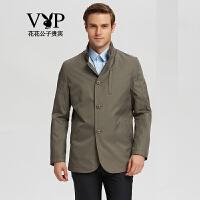 花花公子贵宾 夹克男青年外套时尚简约纯色立领商务休闲夹克