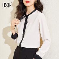 OSA2021早春新款女装ol职业长袖衬衫设计感小众衬衣春秋时尚上衣