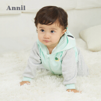 【2件4折价:95.6】安奈儿男女童外套春秋装2021新款时髦宝宝夹克洋气婴小童开衫连帽