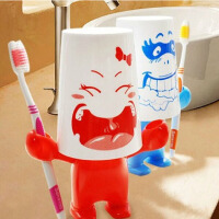 20191212124628557耀点100 创意卡通爱情大力士牙刷架+漱口杯+牙膏座洗漱套装图案随机