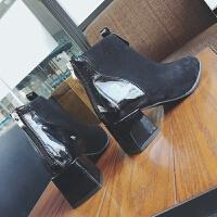 短靴女春秋2018新款复古圆头粗跟后拉链切尔西靴高跟英伦风马丁靴 黑色 内单