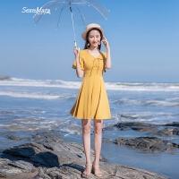 2018夏季新款�n版修身短袖V�I�赓|A字裙系�нB衣裙短裙裙子 �S色