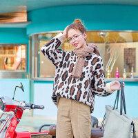 毛菇小象个性豹纹毛衣女时尚宽松圆领复古上衣新学院风套头针织衫【年货节狂欢 到手价:167元】