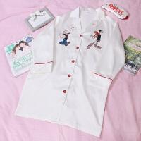 长袖睡裙女春秋季可爱韩版卡通丝绸翻领衬衫家居服 睡裙-送眼罩80-135斤可穿