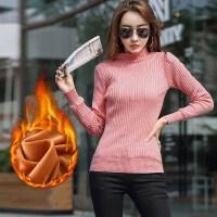 针织衫 女士半高领加绒加厚打底衫2019年冬季新款韩版时尚潮流女式修身洋气女装毛衣打底衫