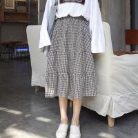 夏装新款韩版复古百搭松紧高腰大摆裙格子中长款a字半身裙女 黑白格 均码